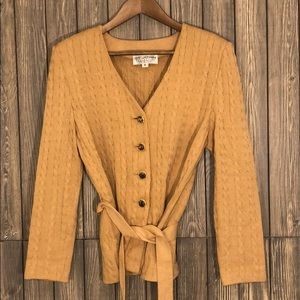 ST. JOHN Collection Cable Knit Belted Cardigan